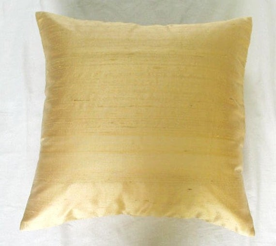 solid honey gold cushion cover and throw pillow 18 inch 1 in