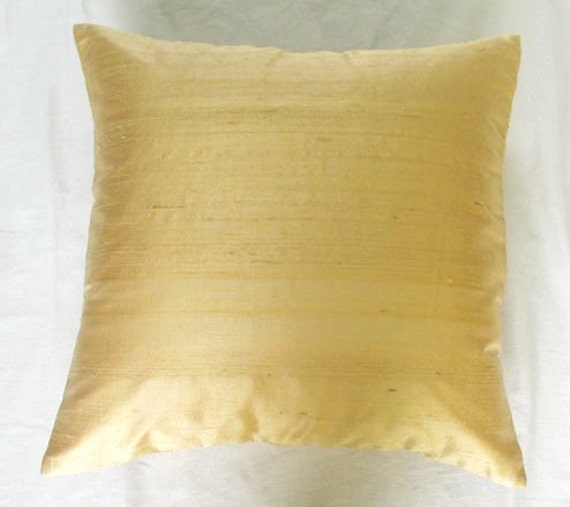 solid honey gold cushion cover and throw pillow 20 inch