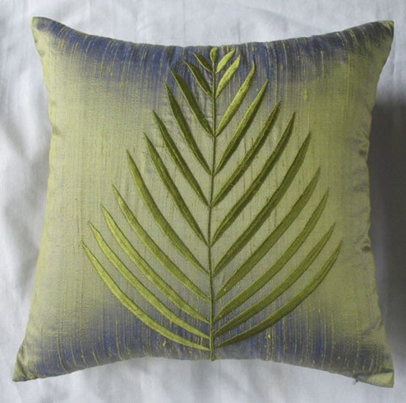 Olive Green Decorative Pillow : Fern leaf olive green silk throw pillow cover 16X16 cushion