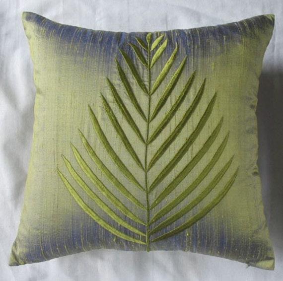 Fern leaf olive green silk throw pillow cover 16X16 cushion