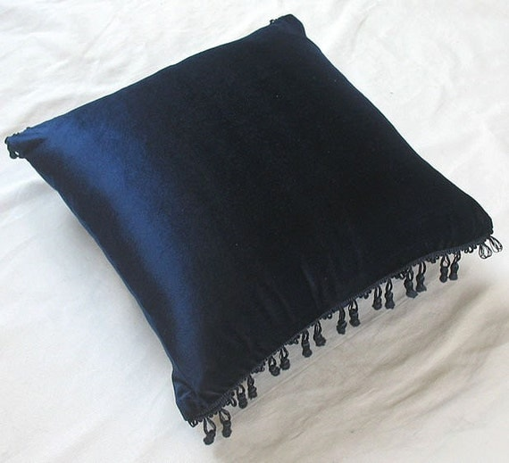 navy velvet throw pillow with tassel detailing 16 inch decorative cushion cover IN STOCK