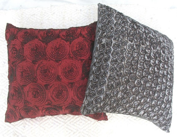 Items similar to Ruffled gray throw pillow cover with roses -16 inch decorative cushion cover in ...