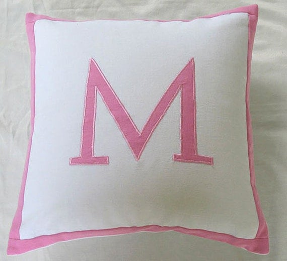 Monogram pillow Initial pillow, Alphabet pillow Nursery Decor Custom Made Pillow Cover