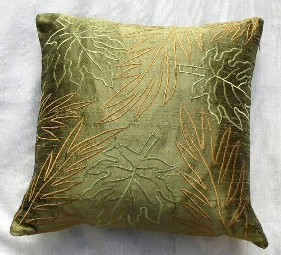 Items similar to Olive green throw pillow with leaf embroidery 16 inch- STOCK CLEARANCE SALE on Etsy