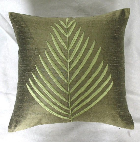 Olive Green Decorative Pillow : Olive green fern leaf throw pillow. Olive green dupioni
