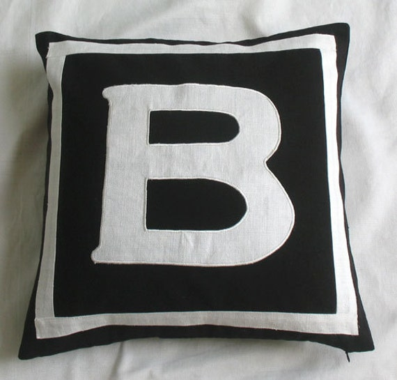 Black monogram pillow 18 inch custom made - personalized