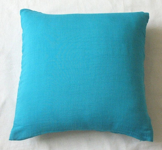 Teal Blue Throw Pillow : Solid dark teal blue accent throw pillow 16 inches set of 2