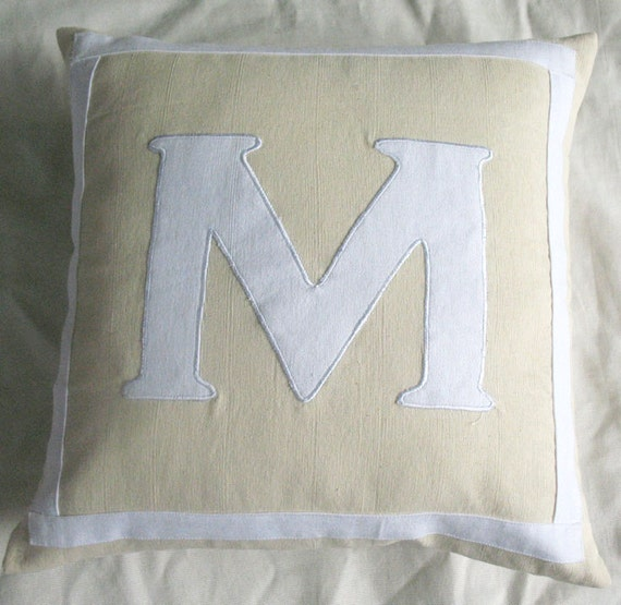 cream monogram letter pillow  cover custom made cushion cover pasanaliaiz throw pillow gift pillow cover choose your colors-18 inches