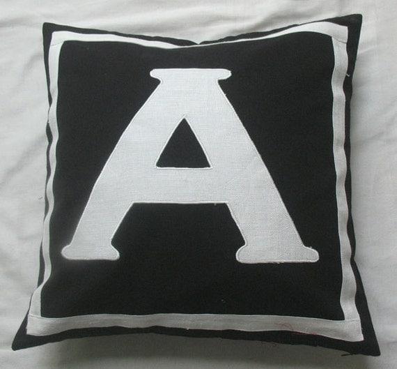 monogrammed pillows - 16 inch- Black & White
