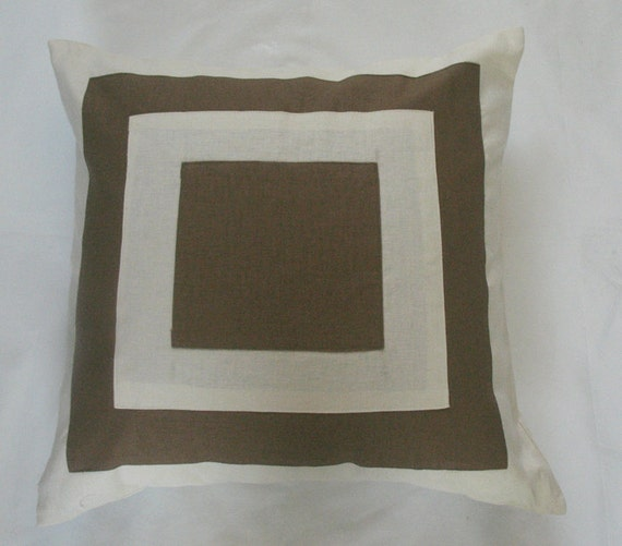 cream and coffee brown throw pillow cover  with square graphic design linen 18 to 20 inch