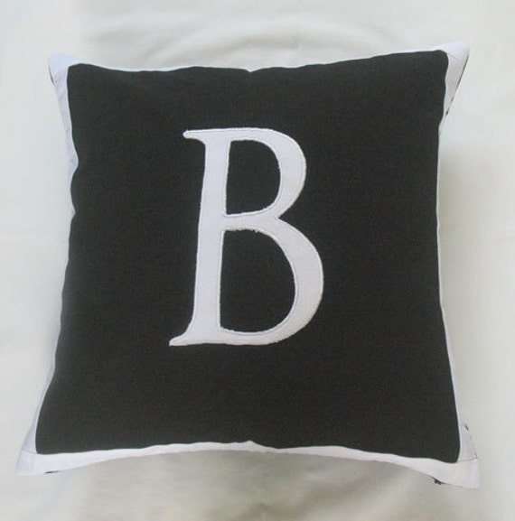 Letter B black and white monogram pillow cover 18 inch - IN STOCK