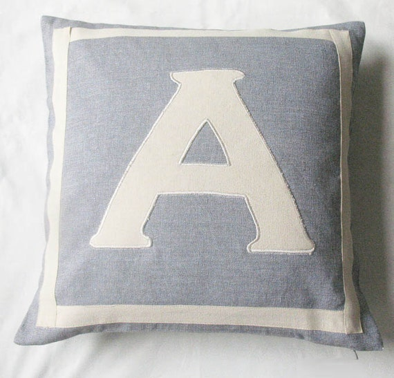 gray and off white monogrammed pillow covers 18 inch
