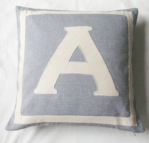 gray monogrammed pillow cover customized and personalized letter initial alphabet pillow. 16 inch