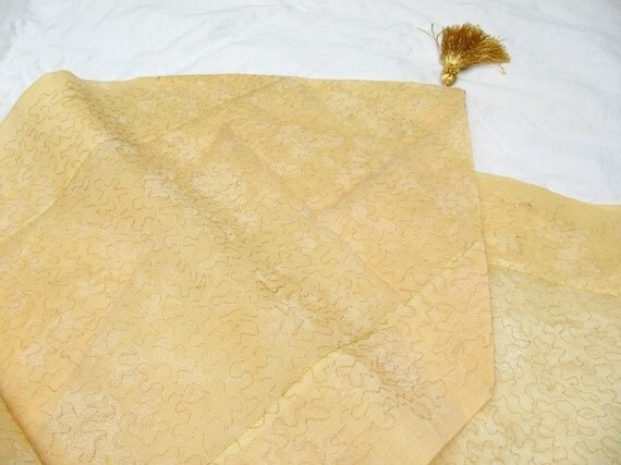 Beautiful Organza table runner with tassels and gold embroidery 88×14
