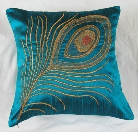 Peacock Feather Teal Blue Throw Pillow 16 Inch Decorative