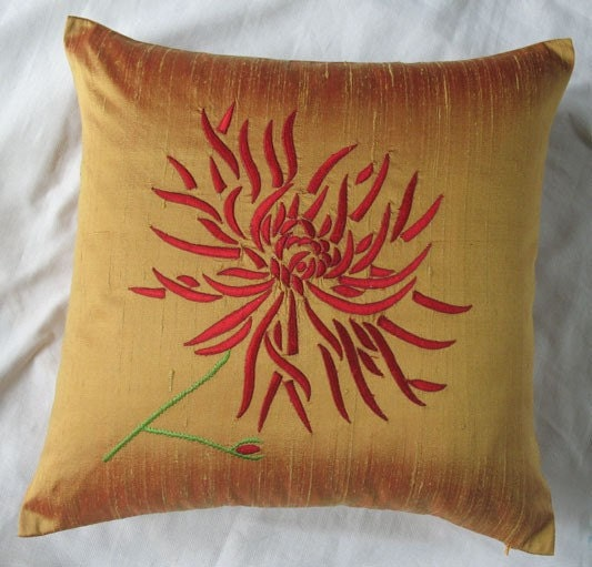 Throw Pillows Red And Gold : gold throw pillow with red chrysanthemum embroidery 16X16