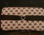Pink and Brown skull and crossbone Wipes Case