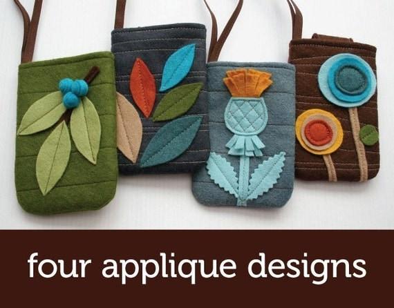 Felt Gadget Cozy PDF pattern with four applique designs