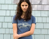 Cream Lobster on Blue - Women's S/S Organic Cotton Tee - Sizes M and XL