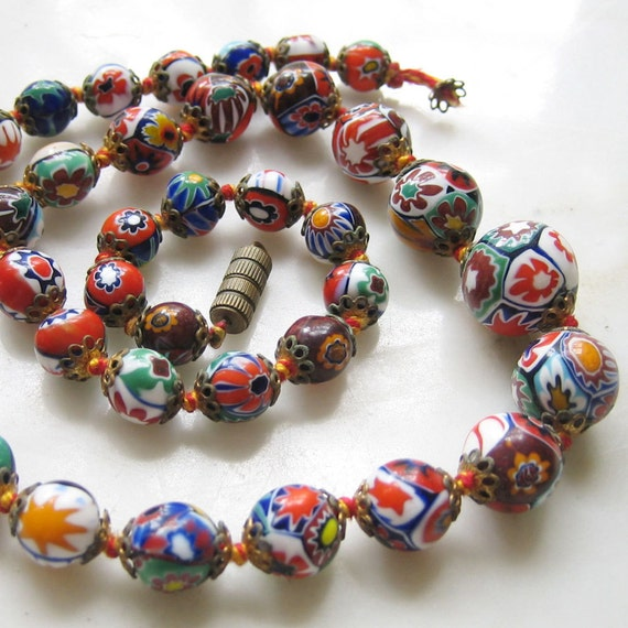 RESERVED FOR GASIRA - 38 Vintage Venetian Millefiori Glass Beads