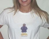 Hip Purple Bird on Organic Cotton White Tshirt