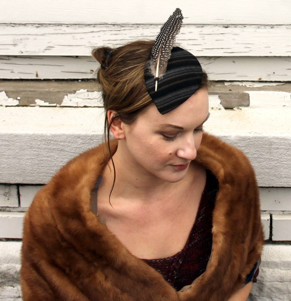 Black/Grey/Brown striped cocktail hat with feather