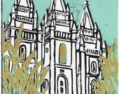 Salt Lake Temple lino-cut Wheat and Tares 5 x 7