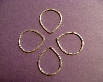 Four Sterling Silver Hammered Teardrops