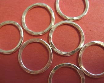 Six Sterling Silver Hammered Circles - 1/2 inch