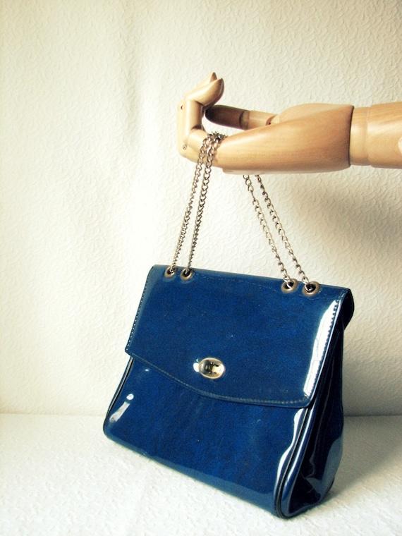 SALE Vintage Navy Blue Patent Purse