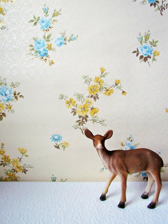 Reserved order for Yeonshill Lee 2 yards Vintage Mustard and Blue Floral Wallpaper & 2 yards Vintage Floral Powder Blue Wallpaper