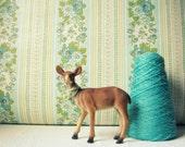 RESERVED for D One Yard Vintage Blue & Golden Floral Stripe Wallpaper