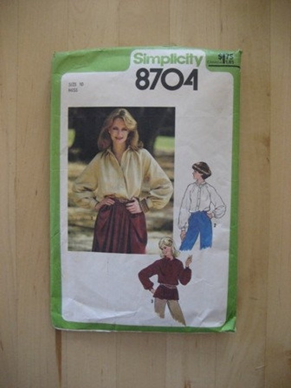 Simplicity 8704 Sewing Pattern Size 10 Printed In 1978
