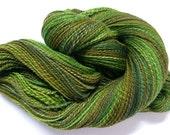 Chocolate Mint handspun yarn green brown merino silk fingering 480 yards