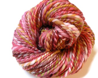 "Handspun Yarn Bulky Thick-Thin Rambouillet ""Candy Hearts"" 104 yds."