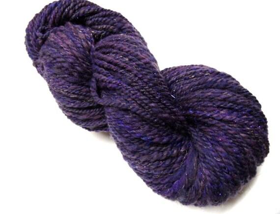 "Handspun Yarn Bulky SW Merino/Silk 140 yds. ""Grape Jelly"""