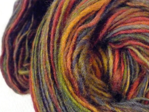 Handspun  260 yds Autumn - wool yarn