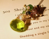 Green Apple Blossom Sterling Silver Wire Wrapped Necklace