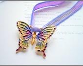 Vintage Butterfly Pendant on Silk Variegated Ribbon
