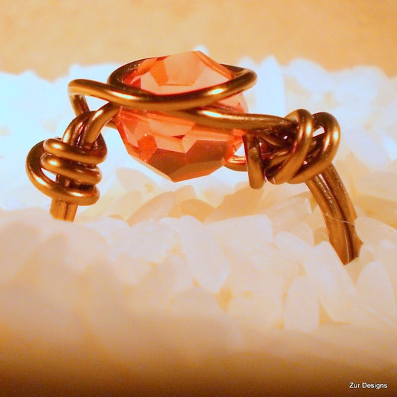 Strawberry Antiqued Bronze Wire Wrapped Ring