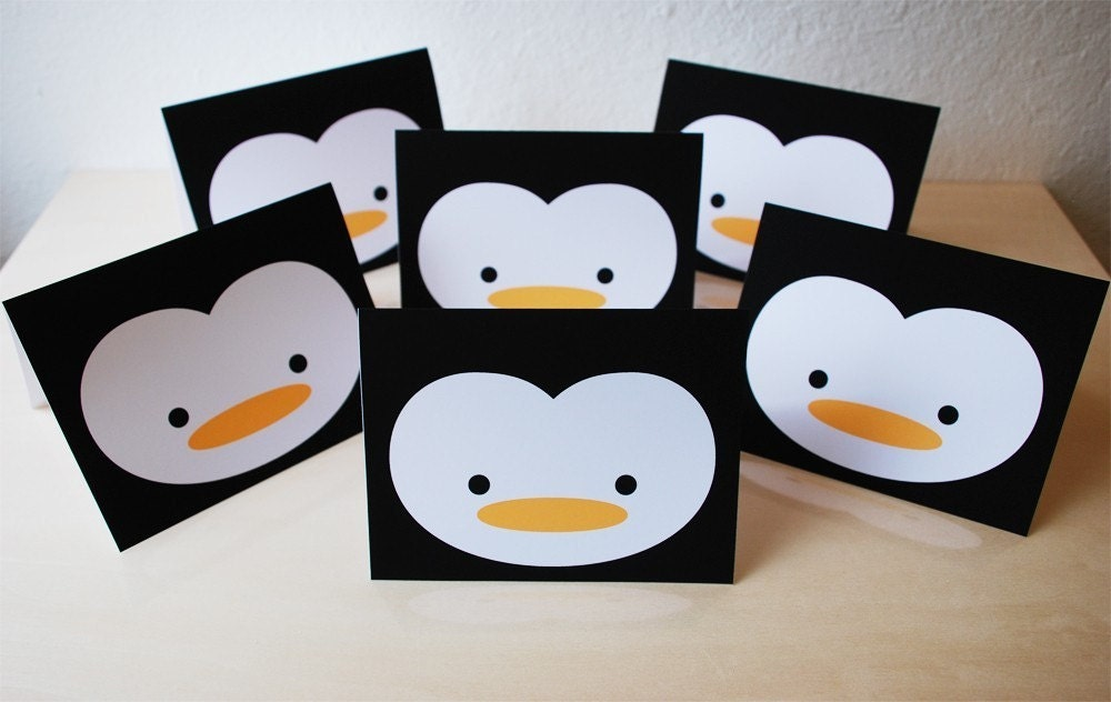 Set of 6 penguin greeting cards personalized for you a2 for Penguin christmas cards homemade