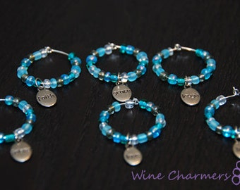 Set of 6 Inspirational Wine Charms-READY TO SHIP
