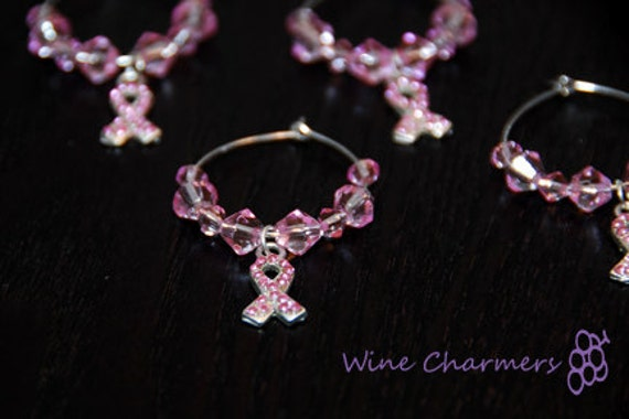 Set of 4 Breast Cancer Wine Charms