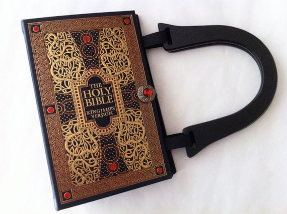 Holy Bible Book Purse - New Testament Book Clutch - Old Testament Book Cover HandBag