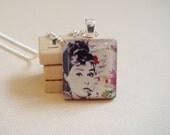Audrey Hepburn with Flowers - Scrabble Tile Pendant
