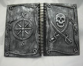 Silver Pirate Journal w/ Jolly Roger and Compass Rose