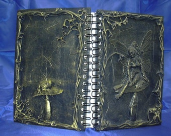 Gold Fairy Journal w/ floral border and toadstool
