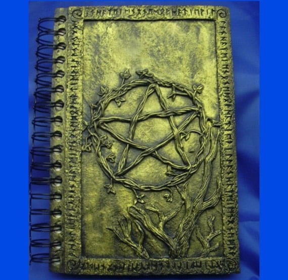 Gold Pentgram Journal with Triple Moon and Harm None Creed