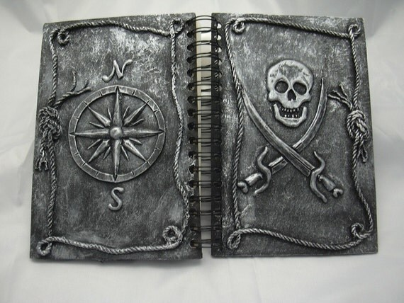 Silver Pirate Journal , Jolly Roger and Compass Rose