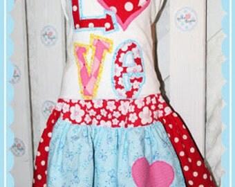 "Polkadaisies...Valentine's day ""love"" apron skirt"